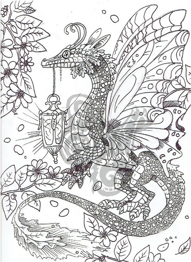 Dragon Coloring Pages for Adults Free Printable - pt7v5