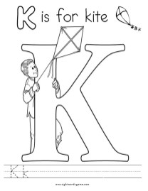 Letter K Coloring Pages Kite - 8931m