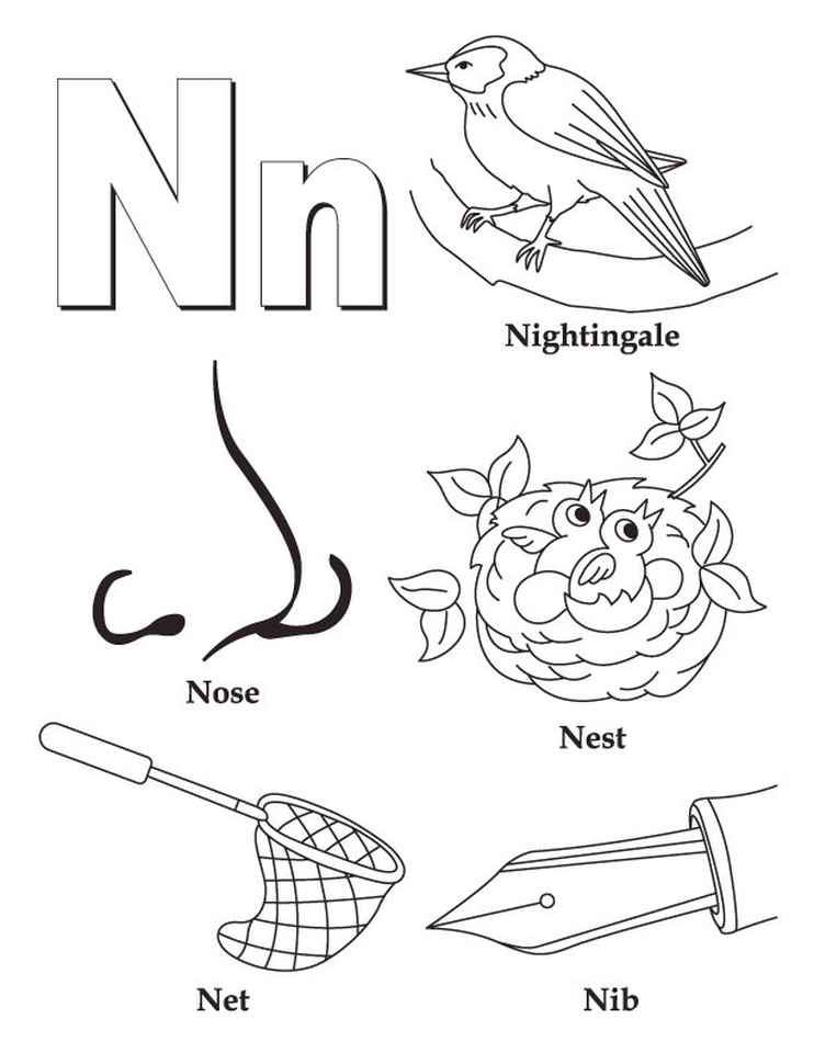 Letter N Coloring Pages - n38nc
