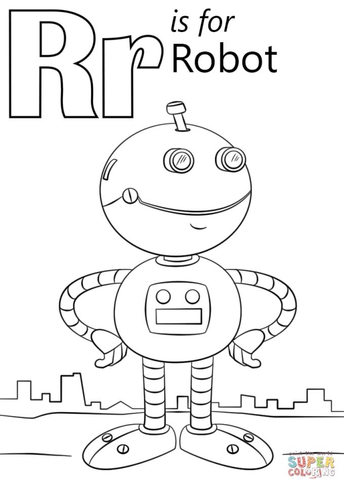 Letter R Coloring Pages Robot - r8591