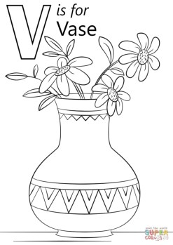 Letter V Coloring Pages Vase - v3695