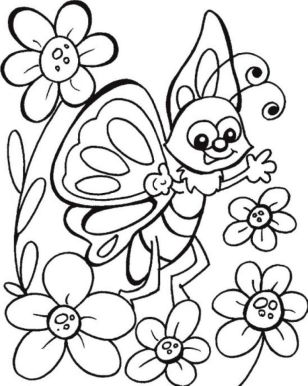 butterfly on flower coloring pages - y6q7d