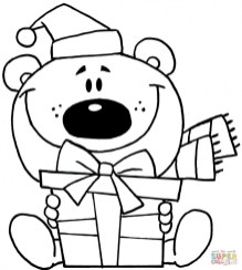 christmas teddy bear coloring pages atf31
