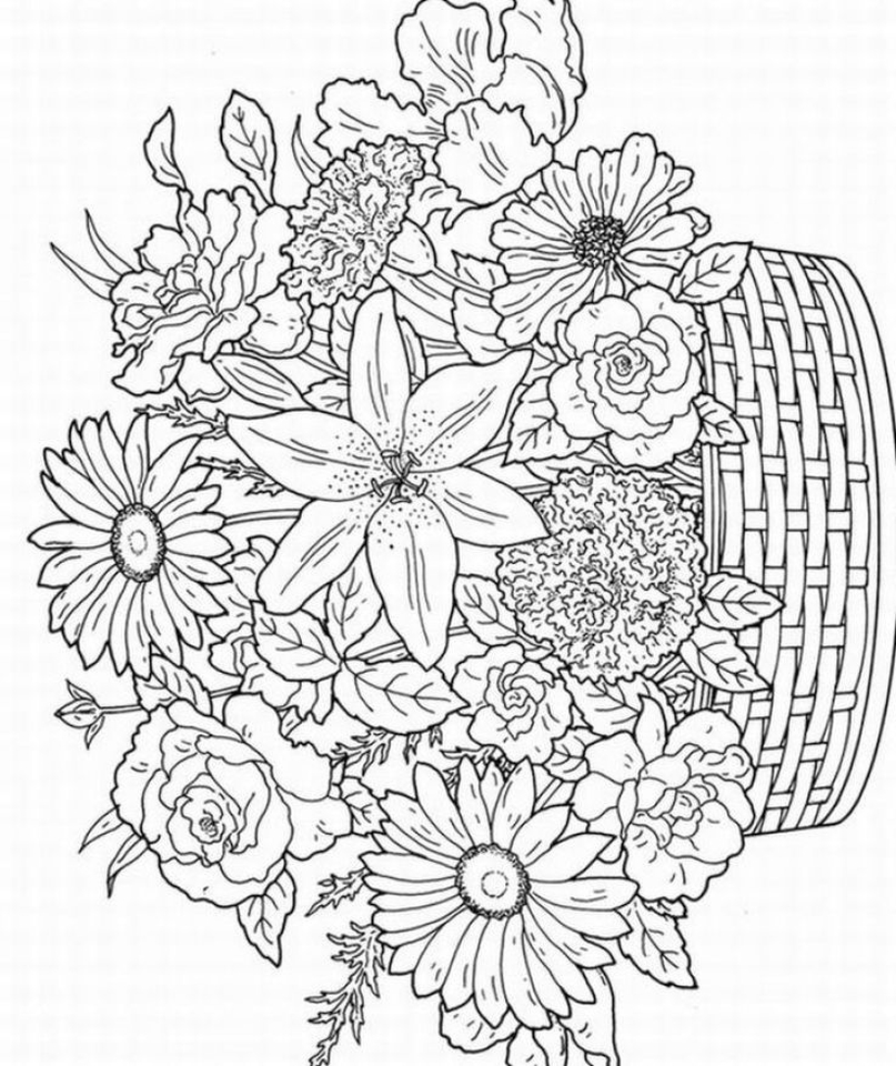 detailed flower coloring pages for adults printable - 75931