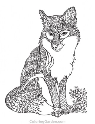 Fox Coloring Pages for Adults 561a7