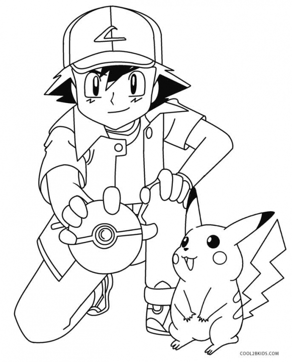 Pikachu and Ash Coloring Pages   uag4m