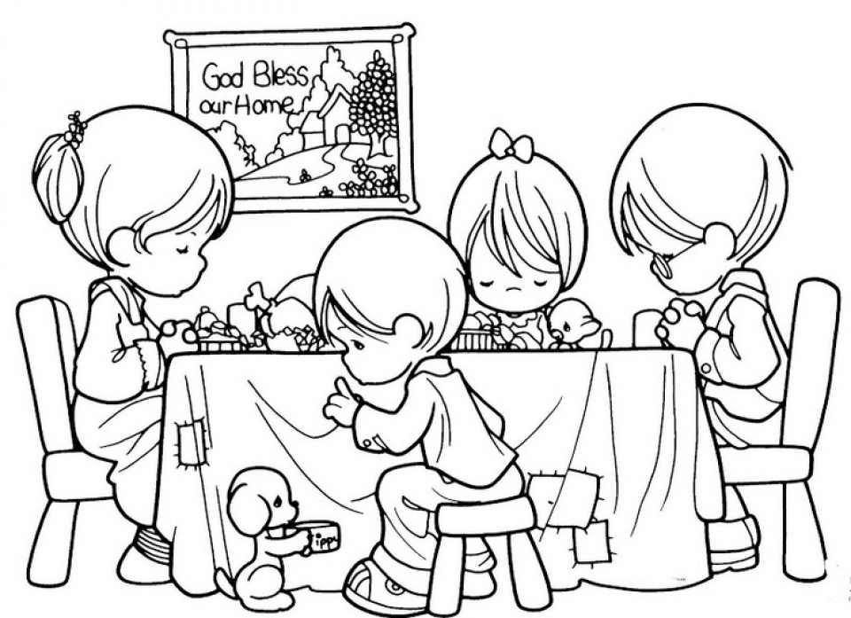 Get This Precious Moments Praying Before Dinner Or Eating Coloring Pages