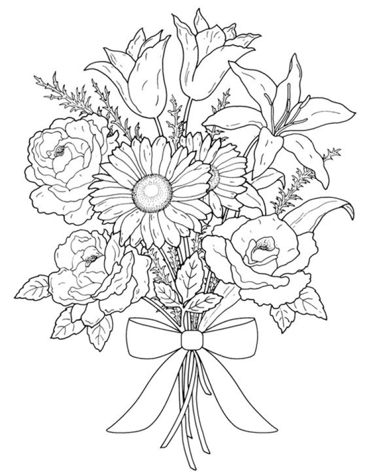 Realistic Flowers Coloring Pages for Adults   7dg40