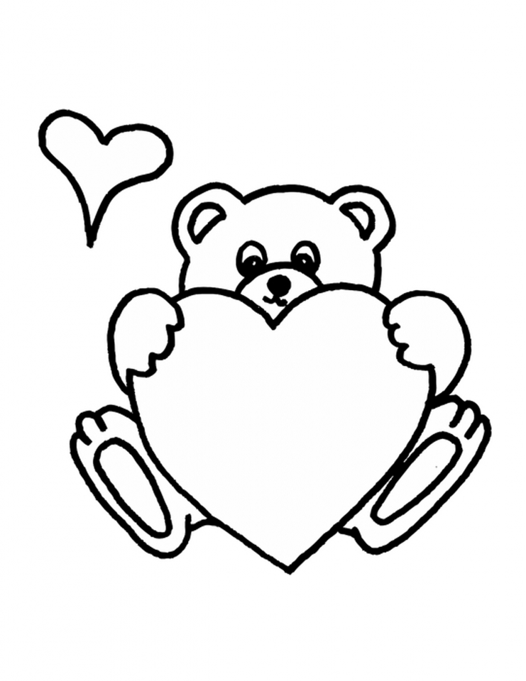 teddy bear with heart coloring pages   y1674