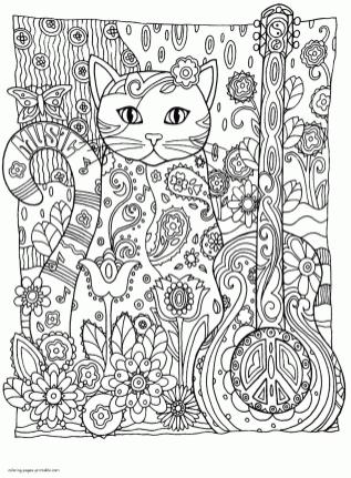 Adult Coloring Pages Animals Cat 2