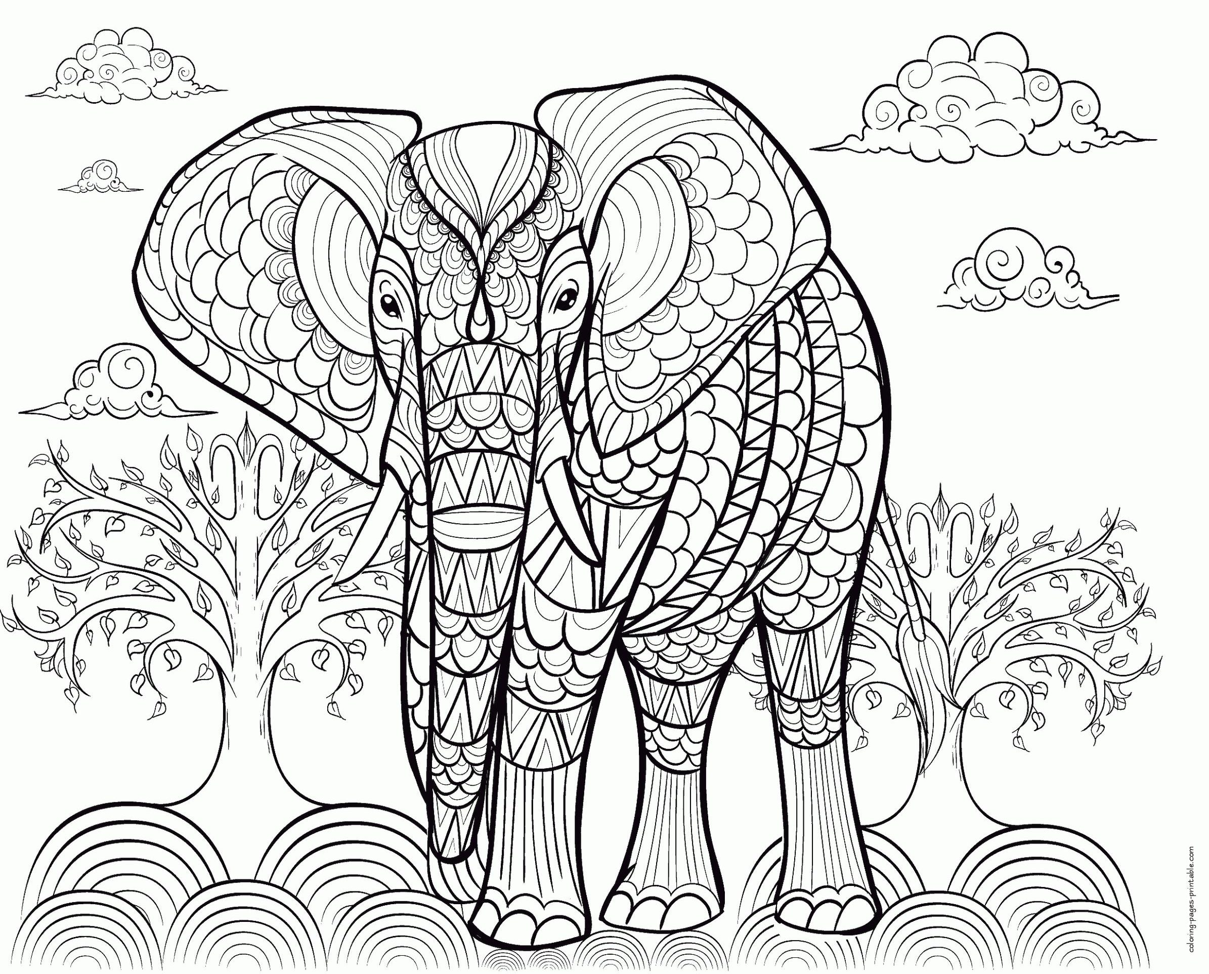 Adult Coloring Pages Animals Elephant 1