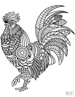 Adult Coloring Pages Animals Rooster 1