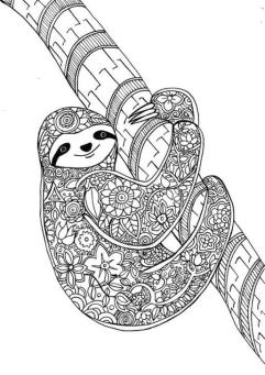Adult Coloring Pages Animals Sloth 1