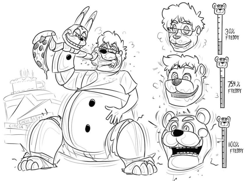 This is a picture of Five Nights at Freddy's Coloring Pages Printable pertaining to bendy