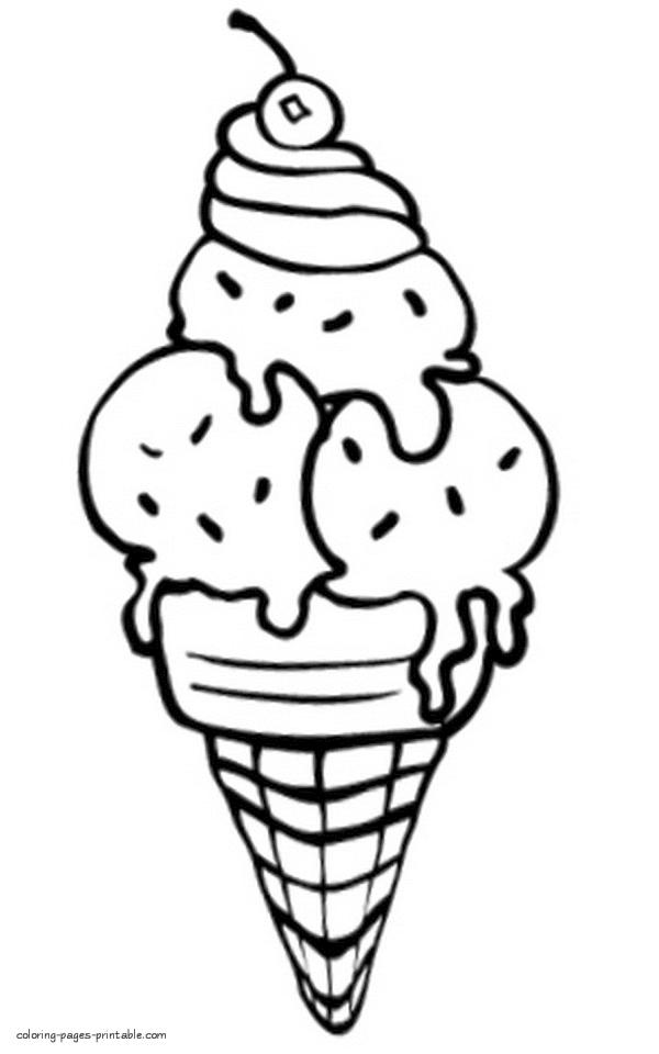 Ice Cream Coloring Pages for Toddlers 663x