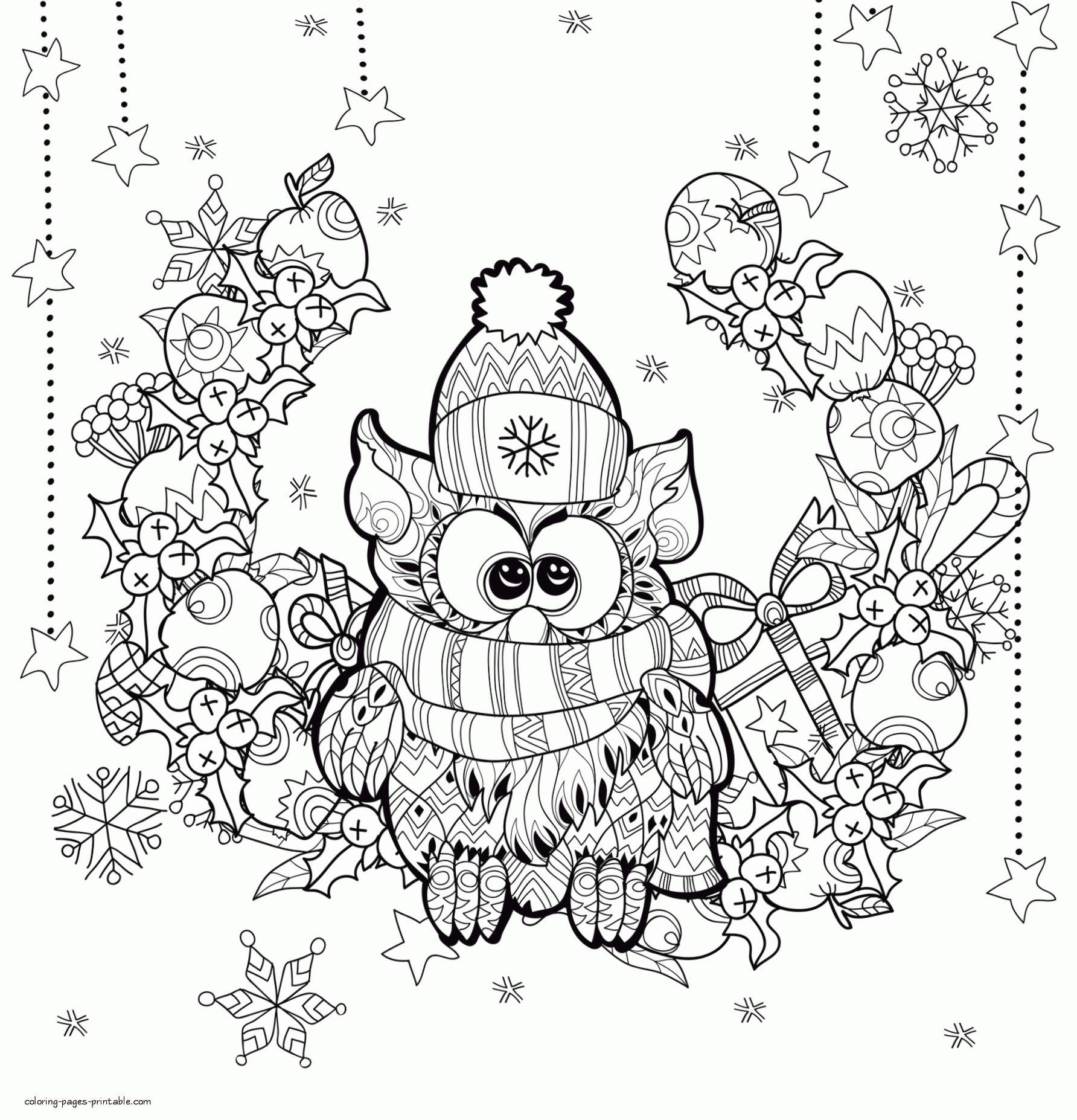 Adult Christmas Coloring Pages Free to Print Christmas Owl vdr8