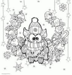 Adult Christmas Coloring Pages Free to Print Christmas Owl vdr8