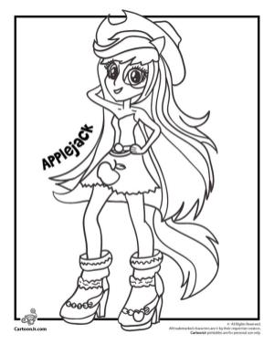Equestria Girls Coloring Pages Applejack
