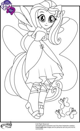 Equestria Girls Coloring Pages Fluttershy with Butterflies