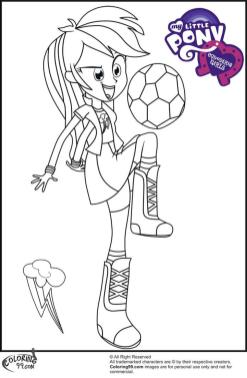 Equestria Girls Coloring Pages Rainbow Dash Playing Soccer