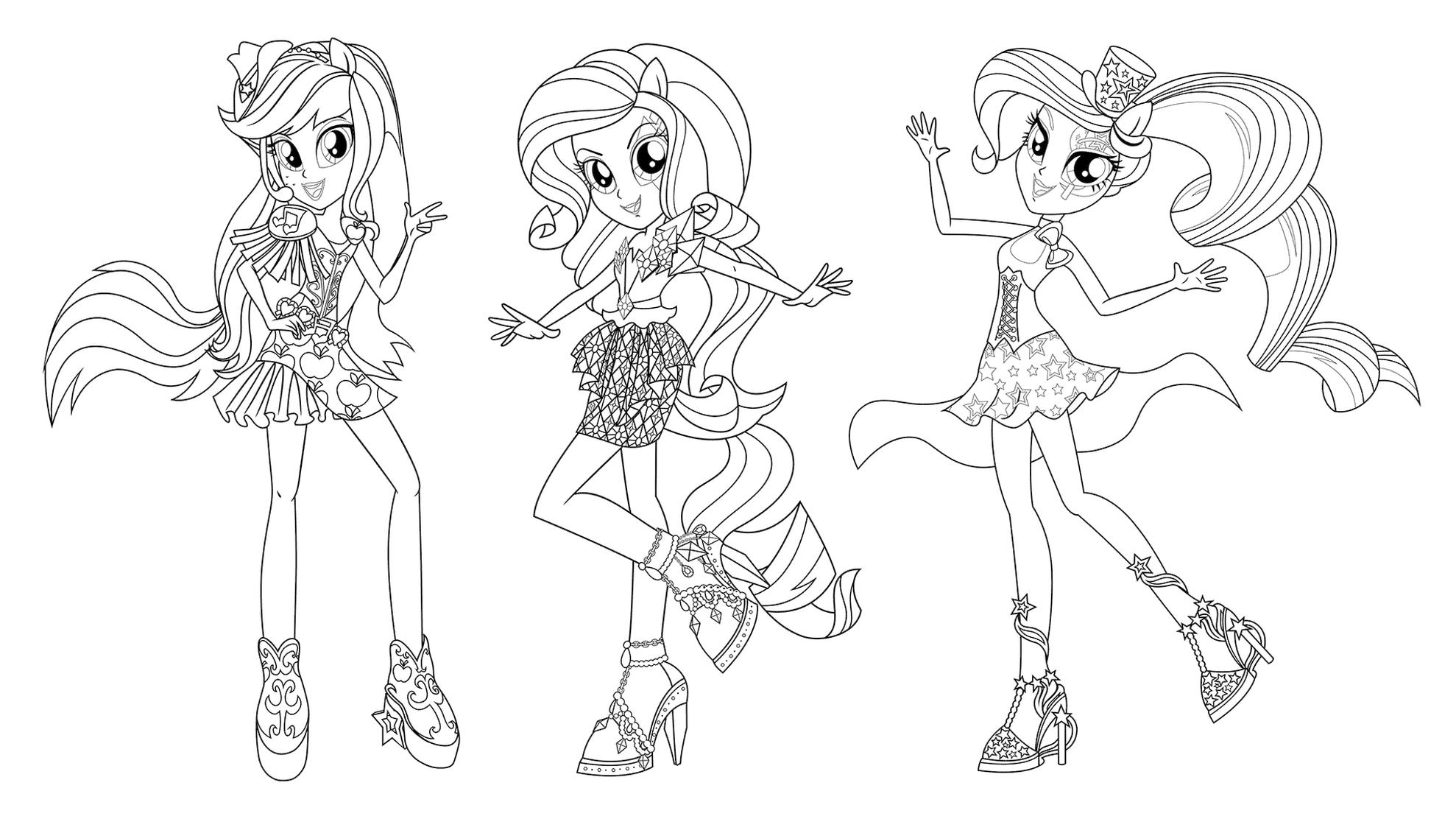 Equestria Girls Coloring Pages Ready to Party