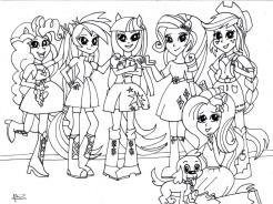 Equestria Girls Coloring Pages Teenage Girls