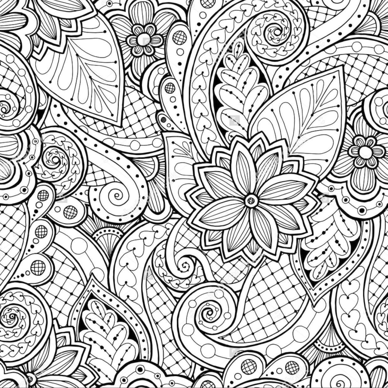 Floral Pattern Coloring Pages for Adult Free imk2