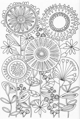 Flower Coloring Pages for Adults Floral Patterns sun2
