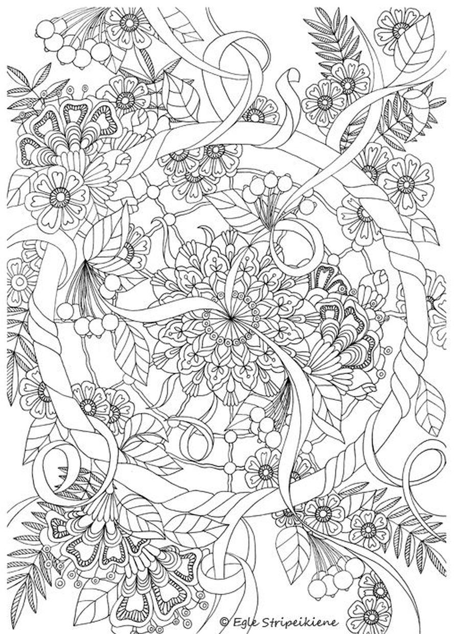 Flower Pattern Coloring Pages to Print for Adults rdc0