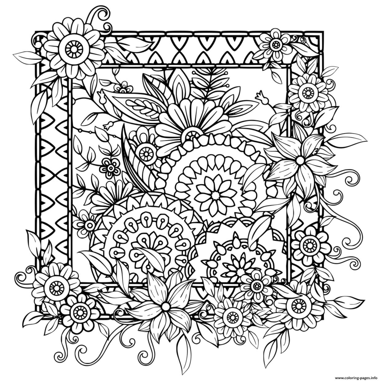Flower Pattern Coloring Pages to Print for Adults wtz6