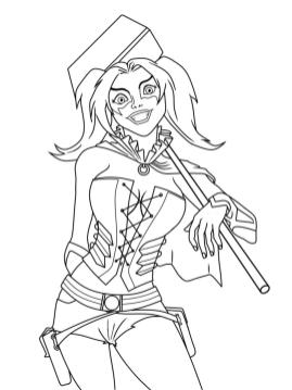 Harley Quinn Coloring Pages 1dct