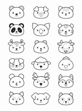 Kawaii Animal Coloring Pages Printable