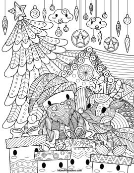 Kawaii Coloring Pages Christmas for Adults