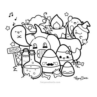 Kawaii Coloring Pages Halloween for Grown Ups