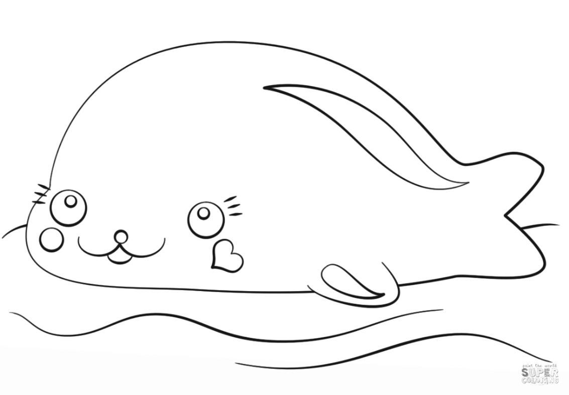 Kawaii Sea Animals Coloring Pages