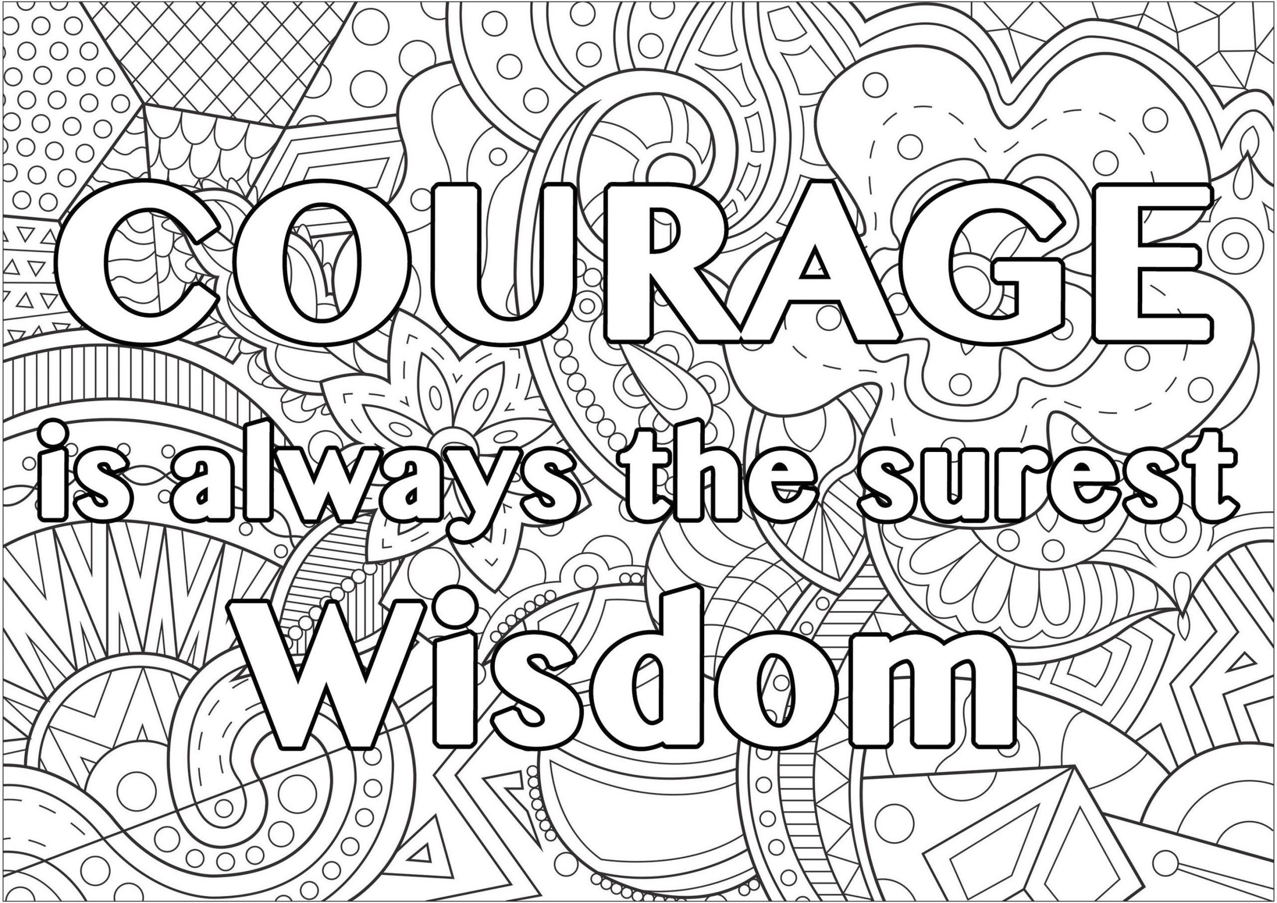 Get This Printable Adult Coloring Pages Quotes Courage Is ...