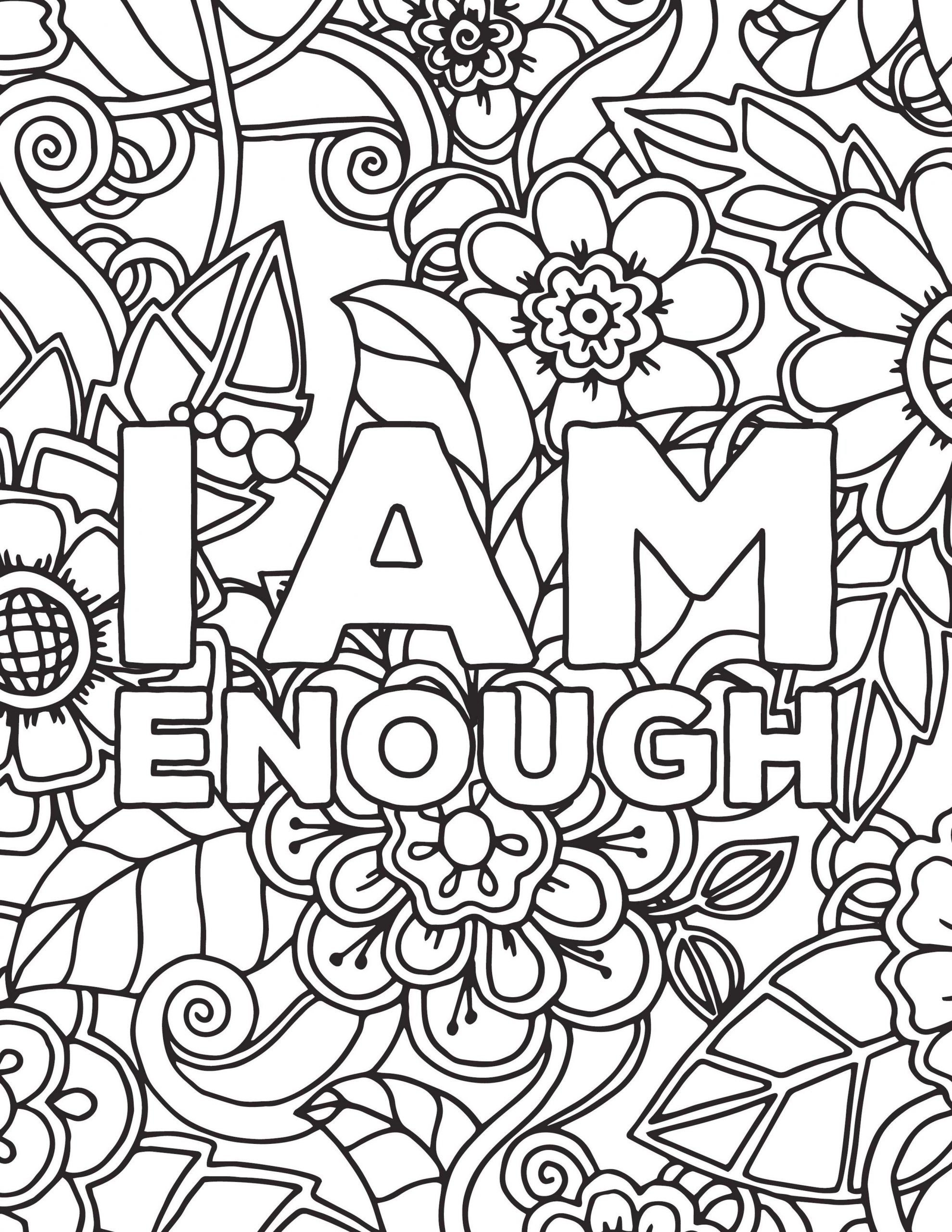 Printable Adult Coloring Pages Quotes I Am Enough