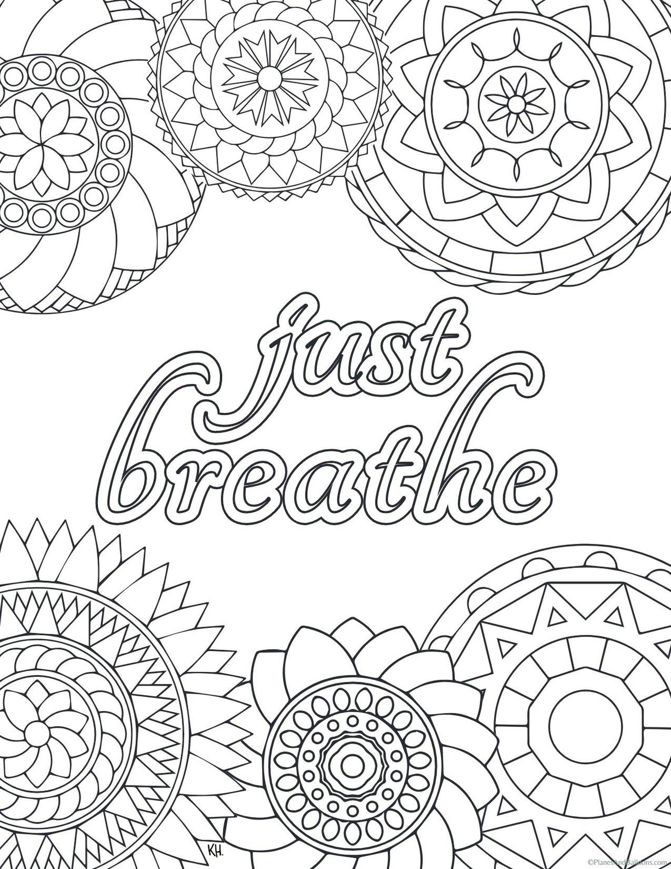 Printable Adult Coloring Pages Quotes Just Breathe