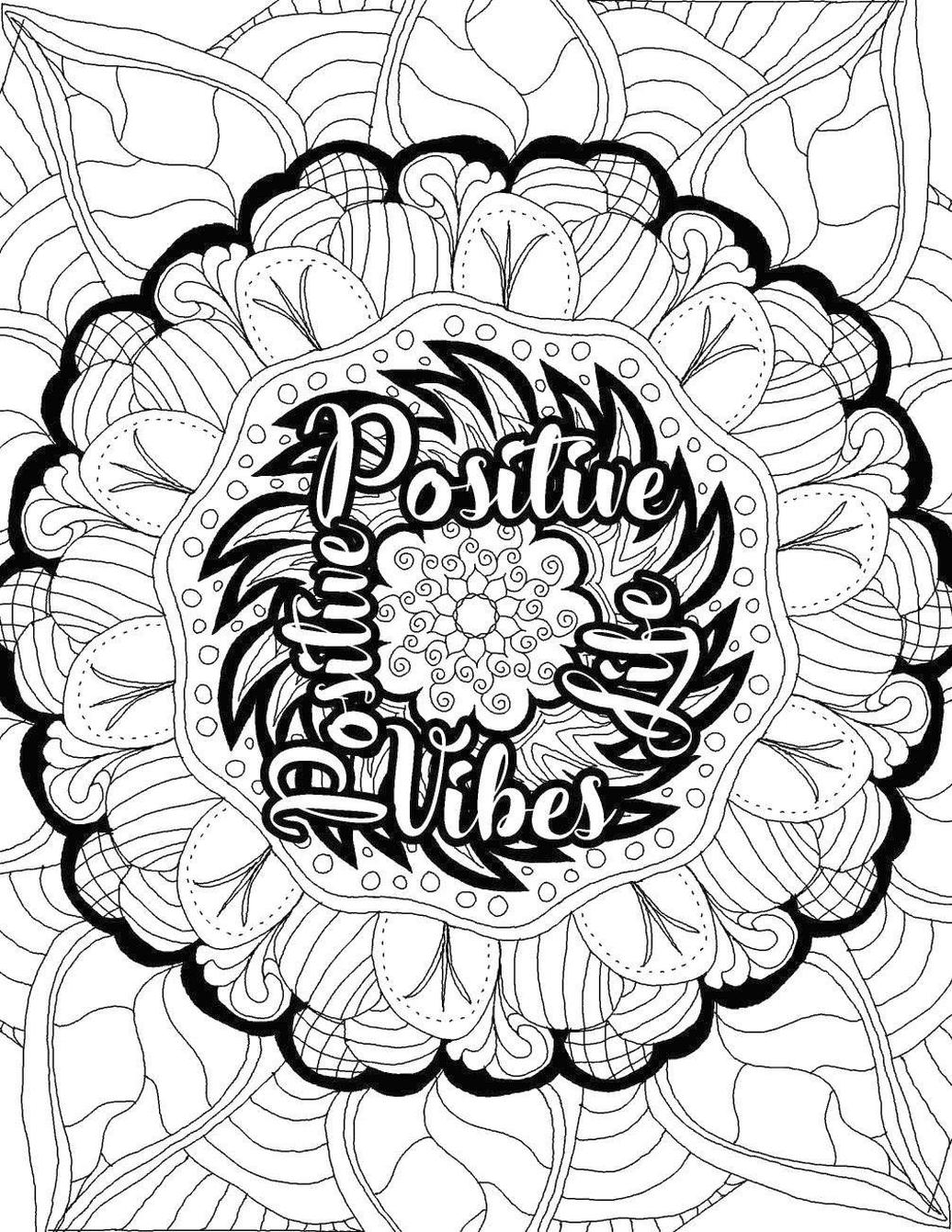 Printable Adult Coloring Pages Quotes Positive Life