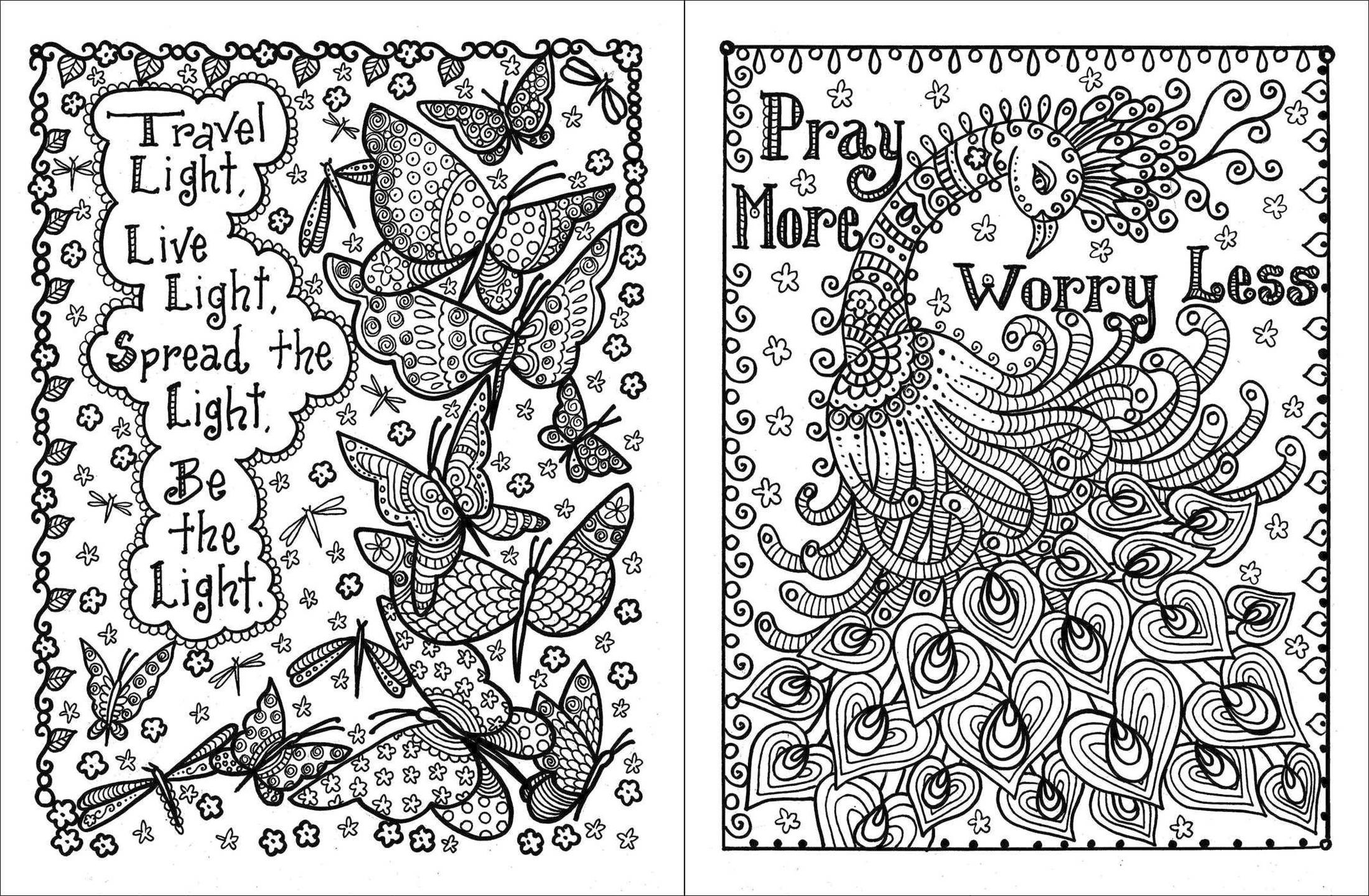 Printable Adult Coloring Pages Quotes Worry Less