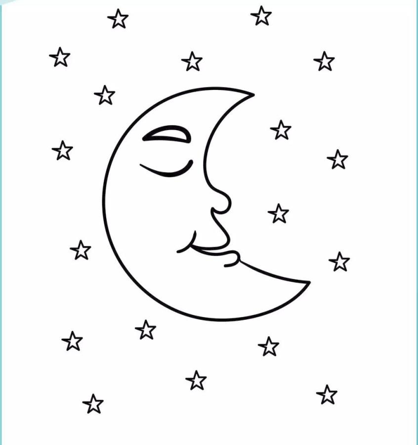 Star Coloring Pages Crescent Moon and the Stars