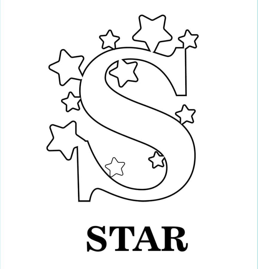 Star Coloring Pages Letter S Is for Stars