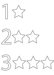 Star Coloring Pages One Two and Three Stars