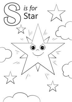 Star Coloring Pages S Is for Smiling Star