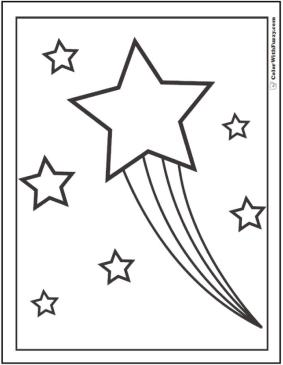 Star Coloring Pages Shooting Star with Rainbow Trails