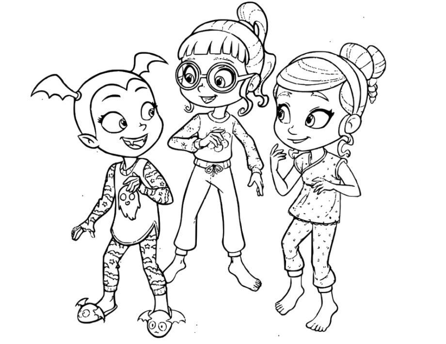 Vampirina Coloring Pages Vampirina with Poppy and Bridget