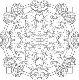 Adult Coloring Pages Patterns Heart and Flower Mandala 3klr