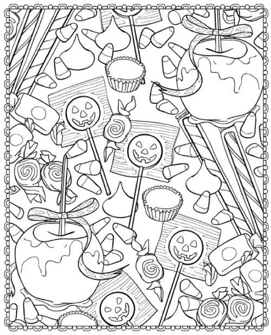 Adult Halloween Coloring Pages Apple Caramel 4apc