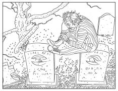 Adult Halloween Coloring Pages Graveyard 7grv