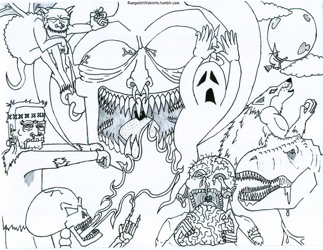 Adult Halloween Coloring Pages Monsters 2mns